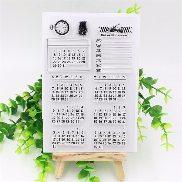 Calendar Week Month Schedule Clear Stamping Cling Sheet DIY Seal Craft Scrapbook