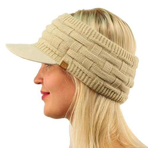 297fc047f3e24 SK Hat shop Winter Open Top 2ply Thick Knit Headband Faux Suede Visor  Beanie Hat Cap Beige