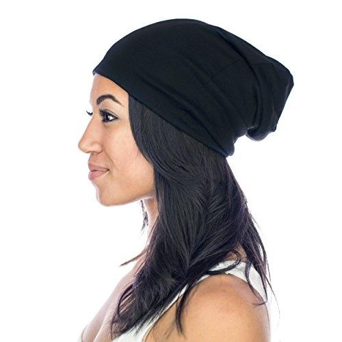 Grace Eleyae Slap Satin-Lined Sleep Cap, Womens Tam Hat Beanie - Large, Black