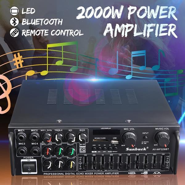 2.0 Channel 1200W Audio Power HiFi Amplifier 326BT AV Amp Speaker For Car Home