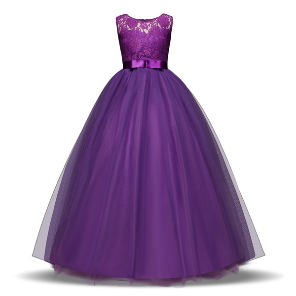 2018 New Fashion Girl Lace Tulle Flower Princess Party Maxi Dress Kids Prom Ball Gown