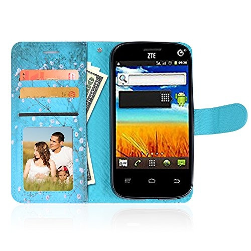 For ZTE N818 [Q-Link Wireless & Lifeline] Customerfirst Exclusive Case  Credit Card Slot Holder Flip Folio Kickstand Wallet Cover with Wrist Strap  &