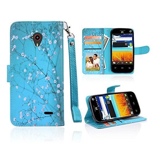best service 50ec5 45009 For ZTE N818 [Q-Link Wireless & Lifeline] Customerfirst Exclusive Case  Credit Card Slot Holder Flip Folio Kickstand Wallet Cover with Wrist Strap  & ...