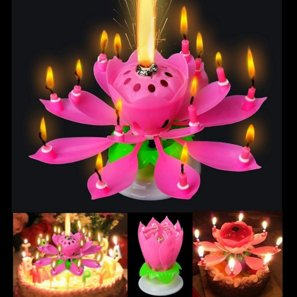 Peachy Rotating Happy Birthday Party Candle Singing Double Layer Musical Personalised Birthday Cards Veneteletsinfo
