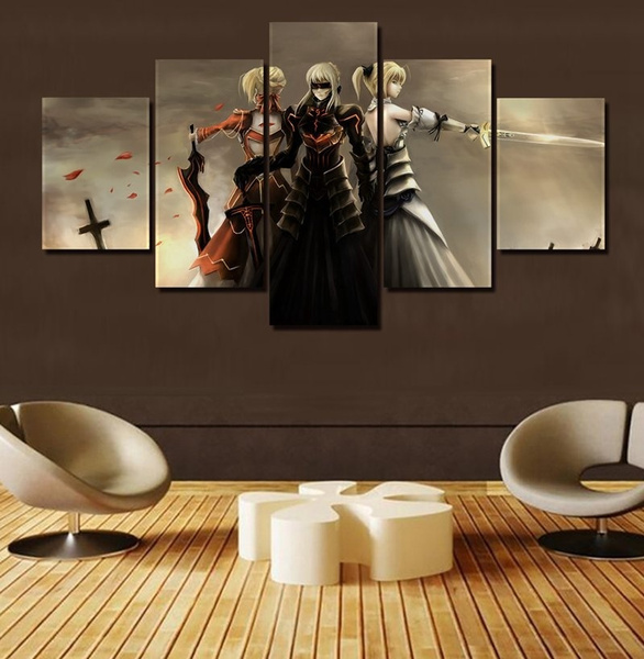 Noframed 5 Panels Black Saber Fate Stay Night Mech Anime Poster Wall Art Picture Canvas Painting For Modern Home Decoration Living Room