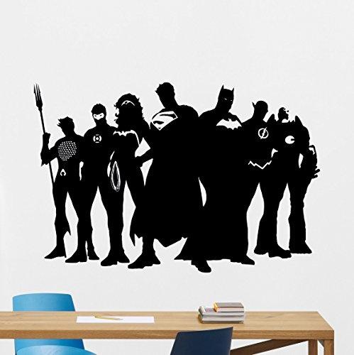 Superhero Wall Decal Marvel DC Comics Superhero Vinyl Sticker Superman  Batman Wonder Woman Flash Superhero Wall Art Design Housewares Kids Room ...