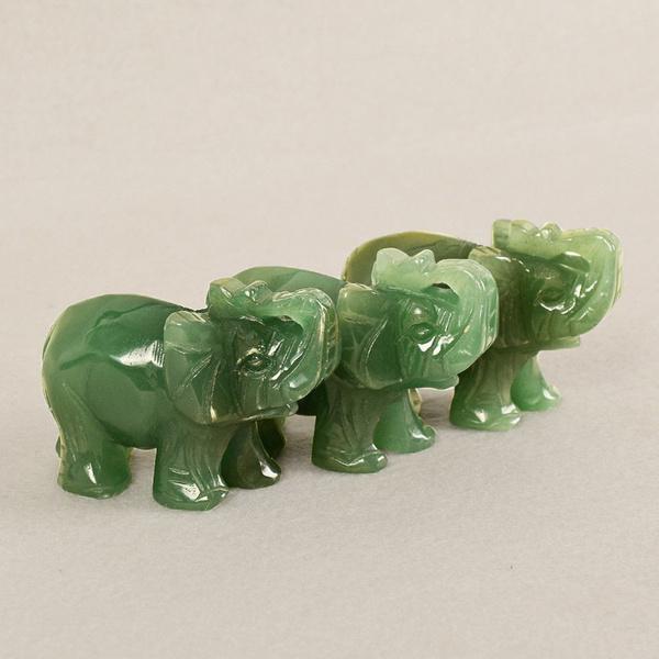 1X Elephant Hand Carved Natural Statue Stone Animal Aventurine Home Gift Decor