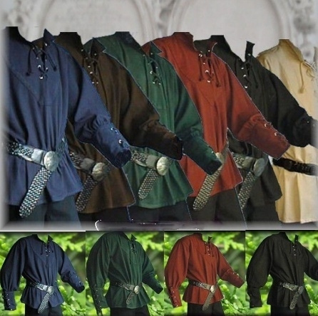 Medieval Clothing Plus Size M--XXXL Medieval Shirt Laced Up Pirate  Reenactment Renaissance Landlord Knight Top Without Belt