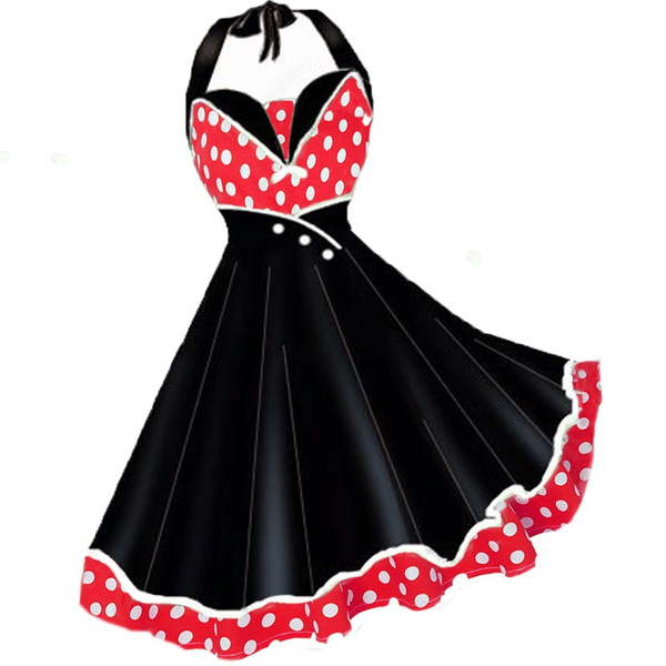 8a0dd1b5a6c Woman Dress 2018 Summer Halter Vintage Red Black Polka Dot Dress ...