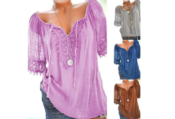 Women Summer Fashion Lace Patchwork T-shirts Lace Up Shorts Sleeve Casual Tunic Top