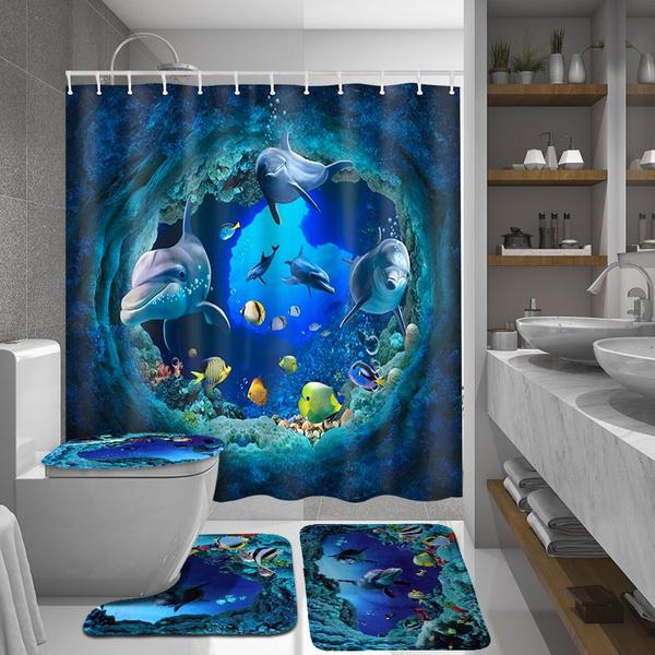 Blue Ocean Dolphin Waterproof Bathroom