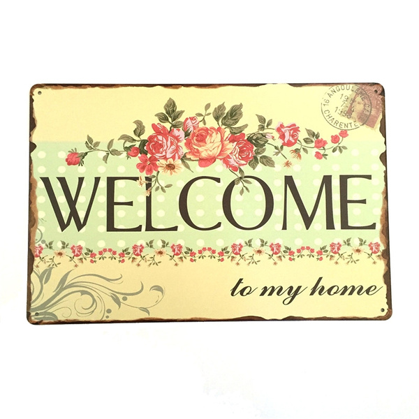 Welcome To My Home Shabby Chic Tin Metal Signs Decor Vintage Plate Pub Bar Wall