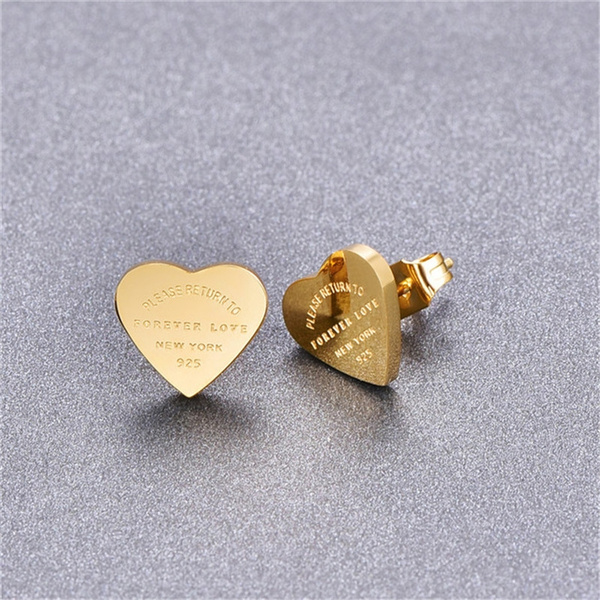 Heart, stainless steel earrings, heart earrings, Stud Earring