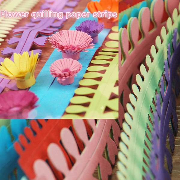 Paper Quilling Flowers Stripes Paper Craft Material Handmade Art Paper Random Color 5 Pairs Bag