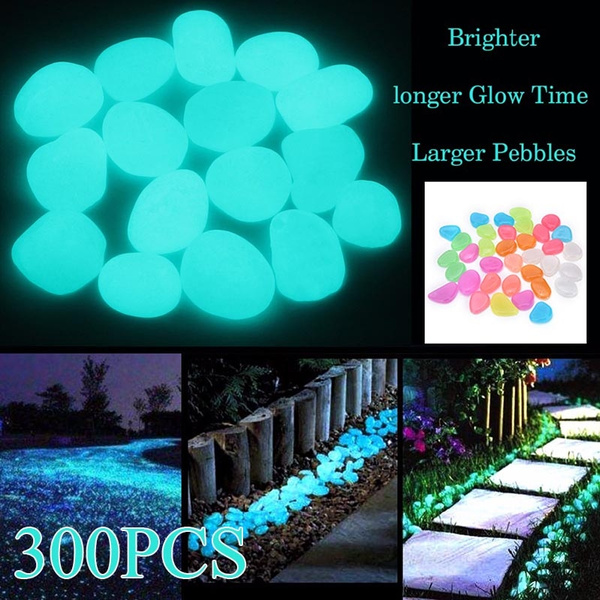 and Fish Tank Decoration Walkway LEAFBABY 100 Pieces Glow in The Dark Stones Garden Pebbles Rocks for Outdoor Purple Yard