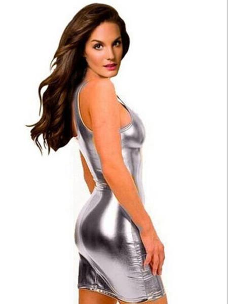 Wish Plus Size Latex Dresses For Women 5xl 4xl Faux Leather Dress