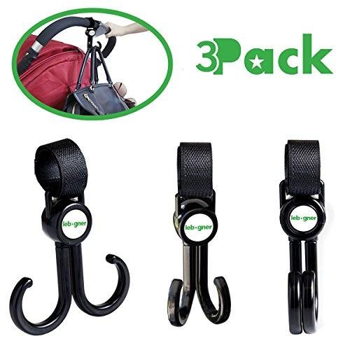 Stroller Hooks By Lebogner 3 Pack Multi-Purpose Rotating Hooks