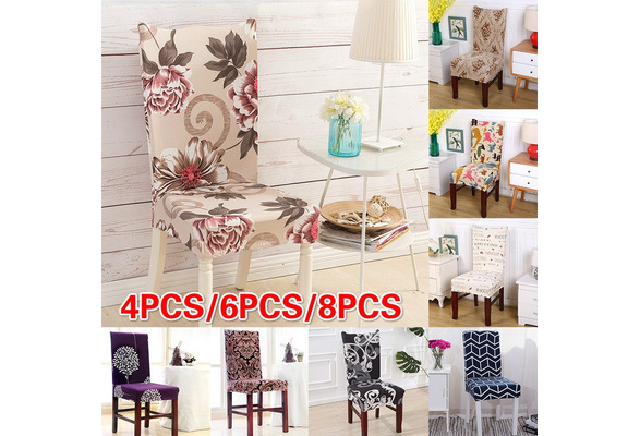 4Pcs/6Pcs/8Pcs Flower printed Spandex Stretch Dining Chair Protector Cover Removable Washable Dining Room Shabby Chair Slipcover Decoration