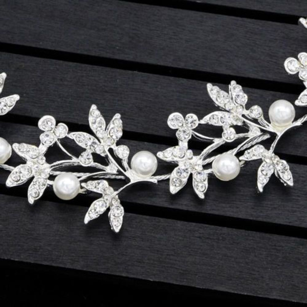SilverBendable Pearl Crystal Bridal Hair Vine Weddings Headband Hair Accessories