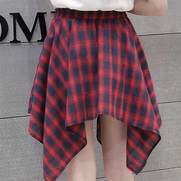 b70ba849892c0 Wish   Womens Girl Elastic Waist Plaid School Skater Mini Skirt ...