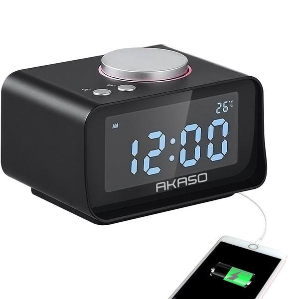 Alarm Clock, Radio Alarm Clock - USB Charging Alarm Clocks, Digital Alarm  Clock for Bedroom with Snooze Function, 5 Dimmer Brightness, Thermometer ...