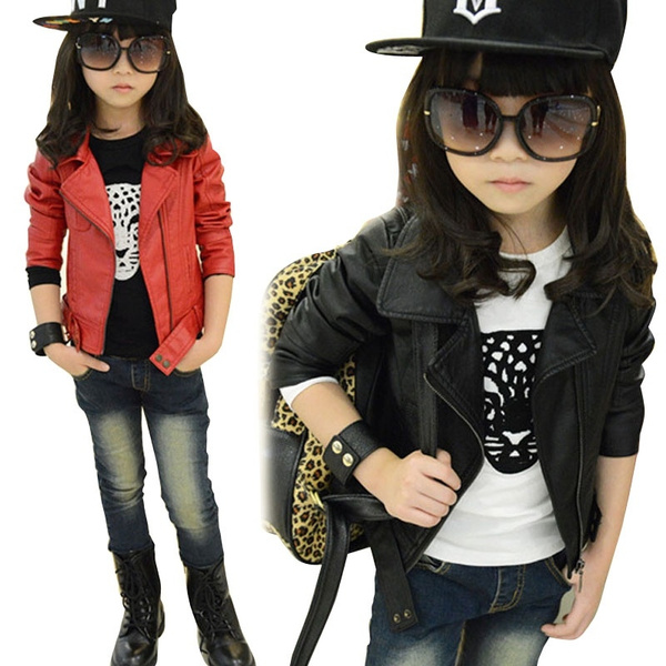 ea480461e693 Baby Girl Faux Leather Jacket Kids Girls Coats Spring Kids Pu ...