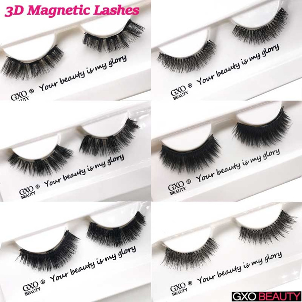 a0c2f2ca169 GXO BEAUTY Natural 3D Eyelashes Magnets False Eyelashes Handmade Crossing  Magnetic Eye Lashes Extensions Womens Cosmetic Beauty Makeup Tools  Accessories   ...