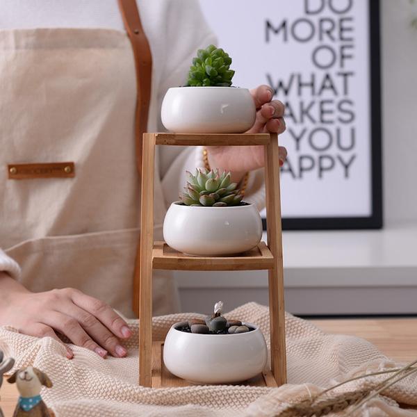 Ceramic Flower Planter Succulent Plant Garden Decor Pot Home 3 Tier Bamboo Shelf