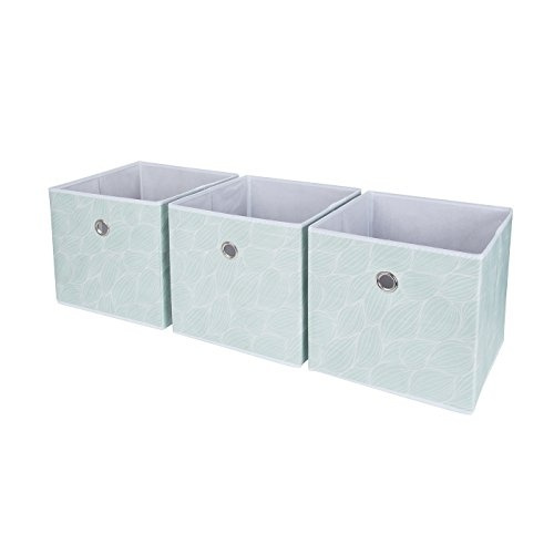 SbS Collapsible Foldable Fabric Storage Boxes, Cubes, Bins, Baskets. Mint  Green Leaf Pattern (3 Pack). Each Storage Bin Measures 11 Inches On All ...