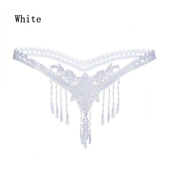 fafc9155fea3 Women Lingerie Nightwear Pearl Lace G-string Tassels Thongs Panties ...