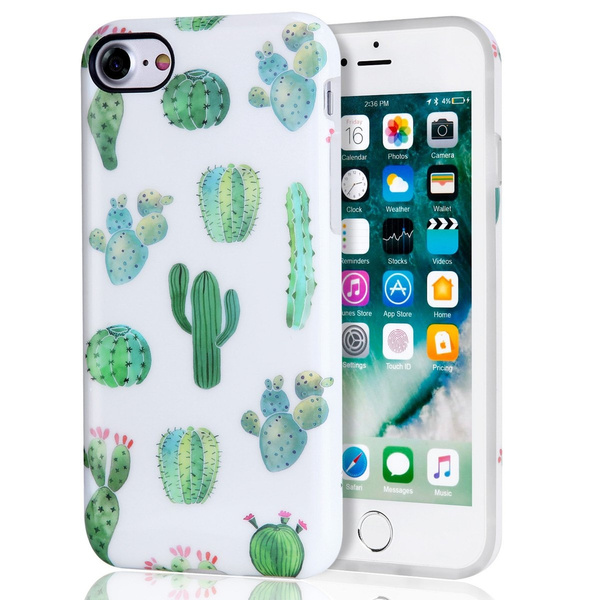 super popular 96007 c060c Cactus iPhone 7 Case, iPhone 8 Case, White Green Best Protective Cute Women  Girl Clear Slim Shockproof Glossy Soft Silicone Rubber TPU Cover Phone ...