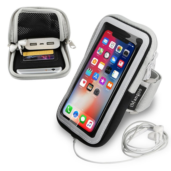 buy online 39e56 c6389 iPhone X Armband, iPhone 10 Armband, iMangoo Phone Pouch iPhone 8 Plus  Sports Armband Running Gym Wrist Bag Adjustable Band Sleeve Key Card Slot  ...
