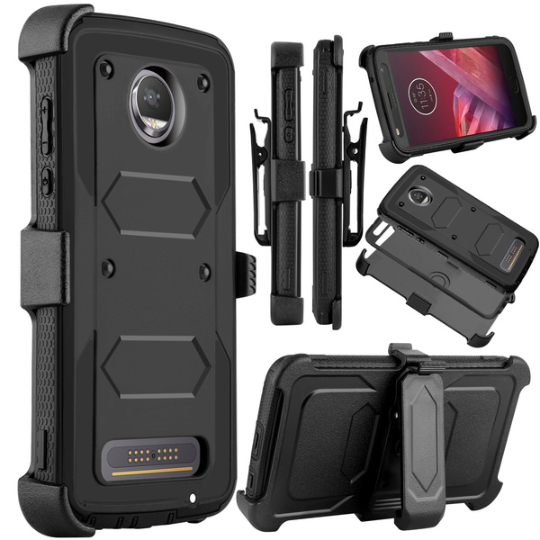 pretty nice 945c1 6a235 Moto Z2 Force Case, Moto Z2 Play Case, Venoro Heavy Duty Shockproof Full  Body Protection Rugged Hybrid Case Cover with Swivel Belt Clip and  Kickstand ...