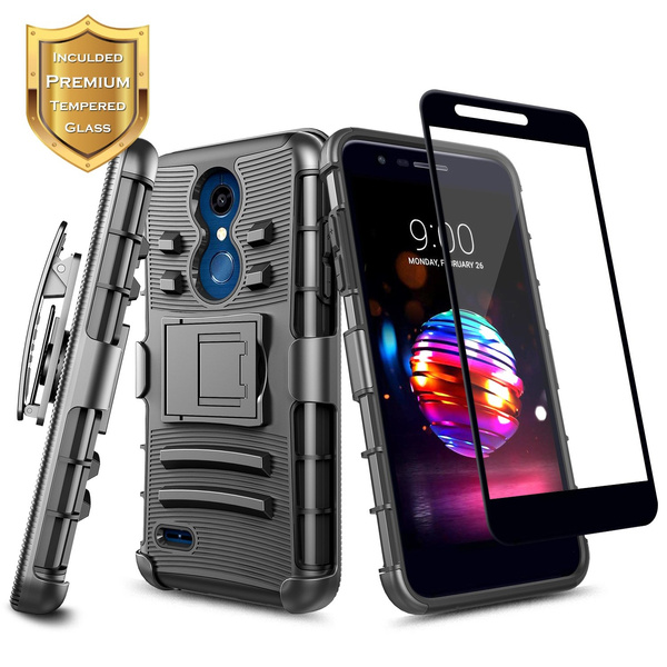detailed look 024ce 4889c LG K30 Case, LG Premier Pro LTE, LG K10 2018 w/[Full Coverage Tempered  Glass Screen Protector],NageBee [Heavy Duty] Armor Shock Proof [Belt Clip  ...