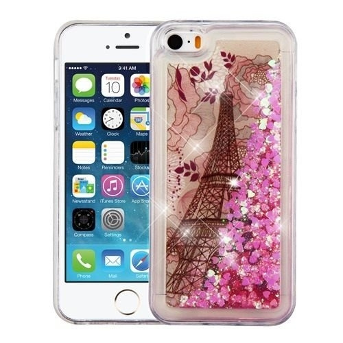 best service c9b72 59757 Wydan iPhone SE 5S 5 Case - Slim Hybrid Liquid Bling Glitter Sparkle  Quicksand Waterfall Shockproof TPU Phone Cover - Eiffel For Apple