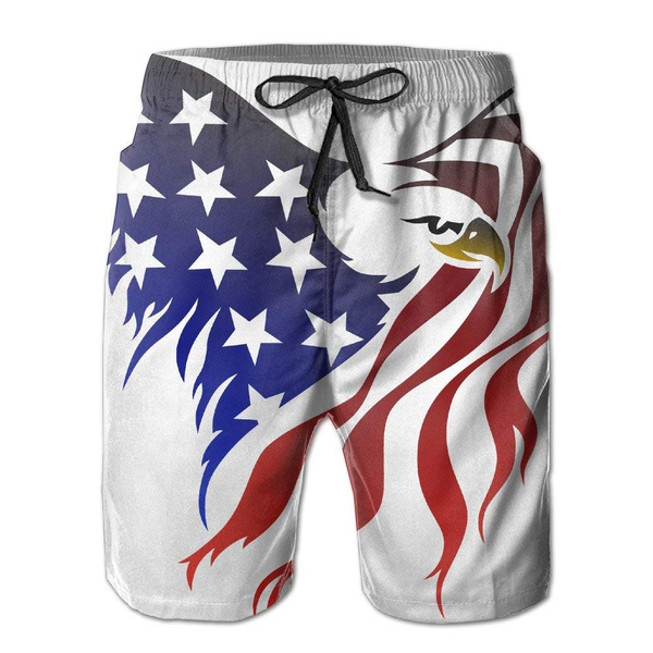 Mens Swim Trunks Eagle with American Flag Quick Dry Drawstring Surfing Beach Board Shorts with Pockets