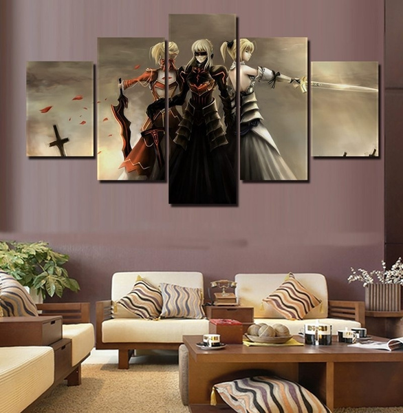5 Panels Black Saber Fate Stay Night Mech Anime Poster Wall Art Canvas Painting For Modern Living Room Home Decoration