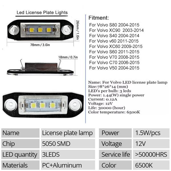 2Pcs Canbus LED license plate Light for Volvo S80 XC90 S40 V60 XC60 S60 C70  V50 XC70 V70 White