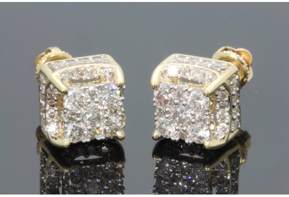 1.25Ct Created White Sapphire Diamond 18K Yellow Gold Filled Brilliant Round Screwback Stud Earrings