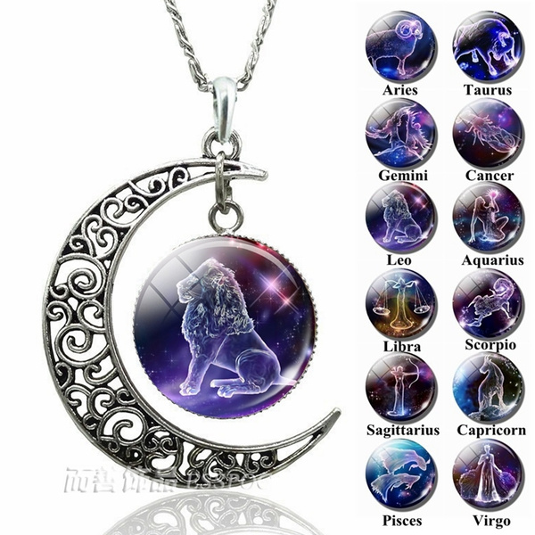 12 Zodiac Constellations Signs Glass Dome Crescent Moon Necklace Fashion Jewelry For Women Aquarius Pisces Aries Taurus Gemini Cancer Leo Virgo