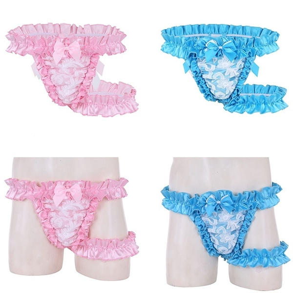 5c936fd7303d Mens Lace Frilly Satin Ruffled High Cut Sissy Knickers G-string Underwear  with Thigh Garter Belt | Wish
