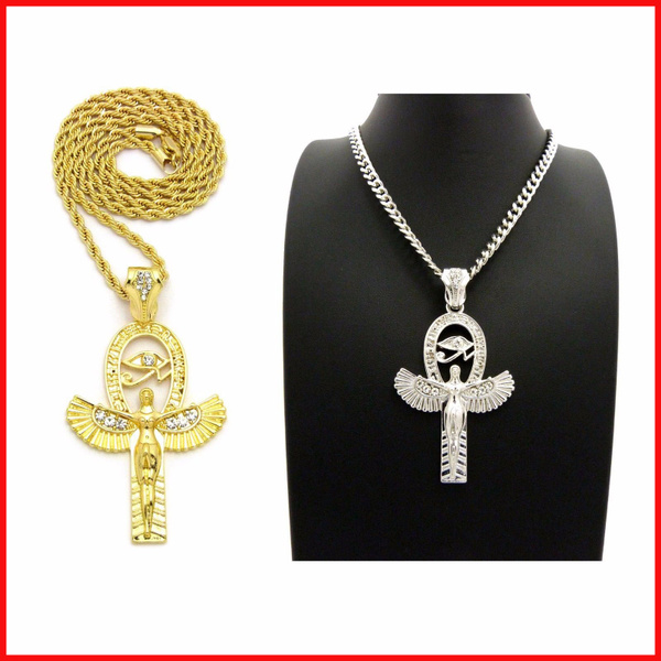 "NEW ANKH CROSS PENDANT 24/"" CHAIN NECKLACE ROPE,CUBAN,BOX HIP HOP"