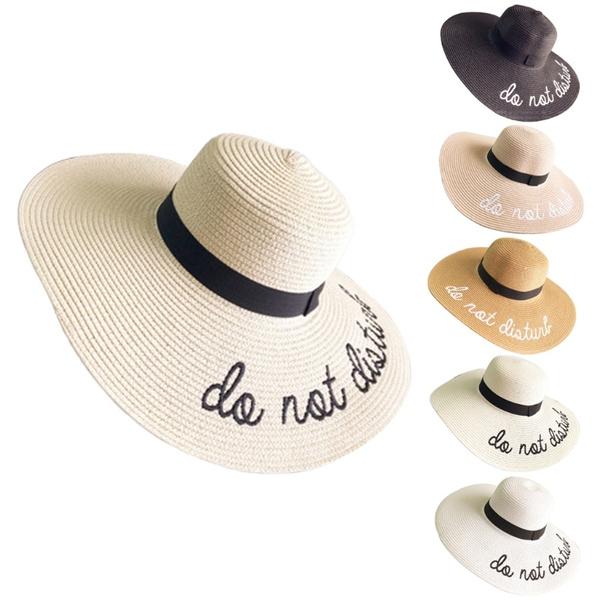Compre Mulheres Bordado Balde De Disquete Verão Palha Chapéu De Sol ... 3770ee1f6ae