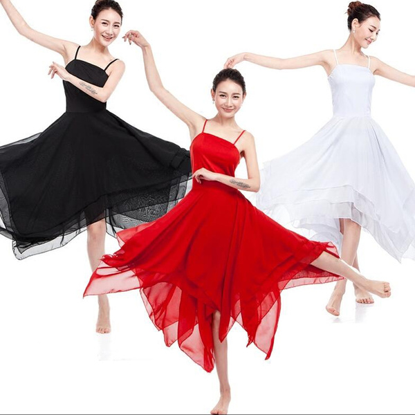 Contemporary Lyrical Dress Ballet Dance Costumes Adult Womens Chiffon Dancewear