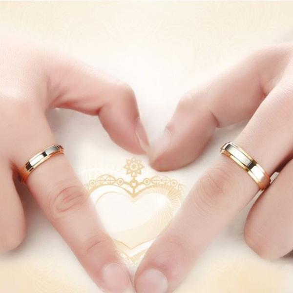 Wish 2018 New Luxury 18k Gold Wedding Rings Simple Design Couple