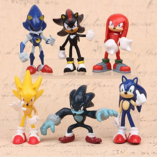 Max Fun Set Of 6pcs Sonic The Hedgehog Action Figures 5 7cm Tall Cake Toppers Sonic Shadow Werehog Metal Sonic Knuckles Super Sonic Wish
