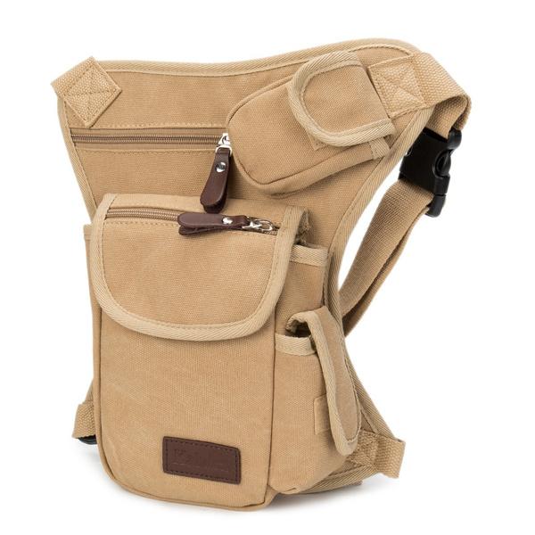 Men Multifunction Outdoor Cotton Sport Leg Bag Canvas Waist Bag Money Belt Bag