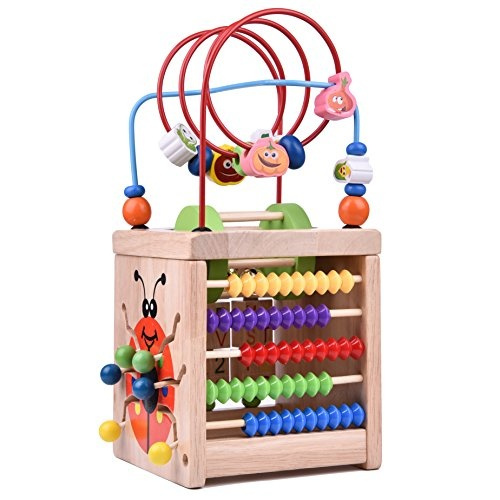 Toddlers Gift Wooden Bead Maze Activity Center For 1 Year Old Around Circle Educational Skill Improvement Wood Toys For Kids Babies
