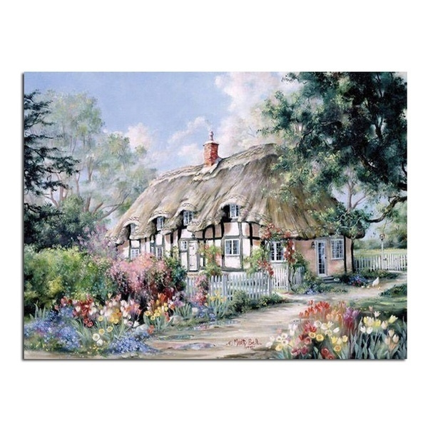 Cottage New 100% Full Area Highlight Diamond Needlework Diy Diamond  Painting Kit 3D Diamond Cross Stitch Embroidery