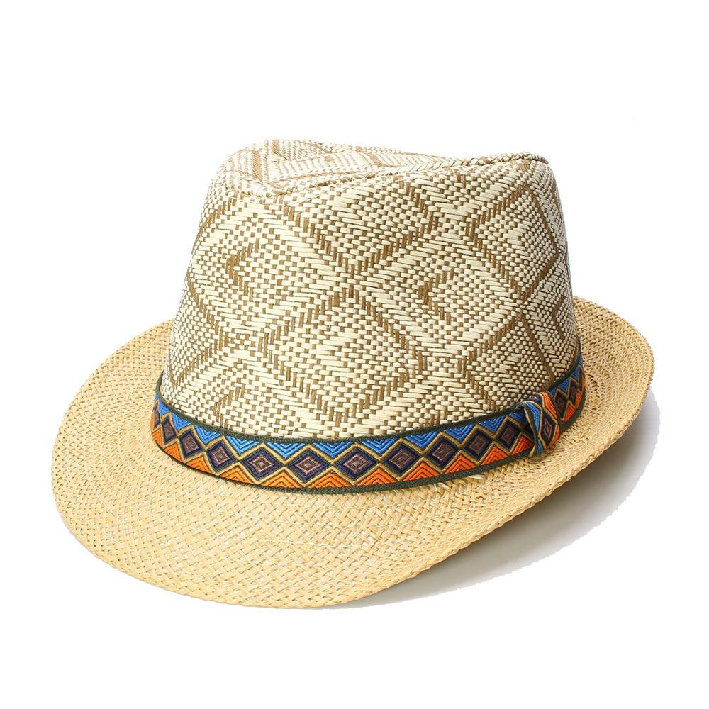 03e147f1 Summer Women's Men's Unisex's Vintage Sun Straw Beach Fedora Jazz Hat  Ganster Cap Lattice Retro Cloth Band (One Size 58cm)